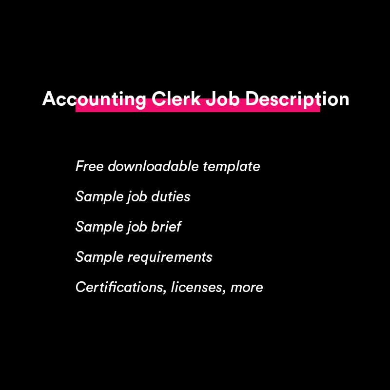 accounting clerk job description template and sample