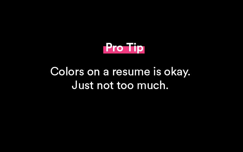 colors on a resume