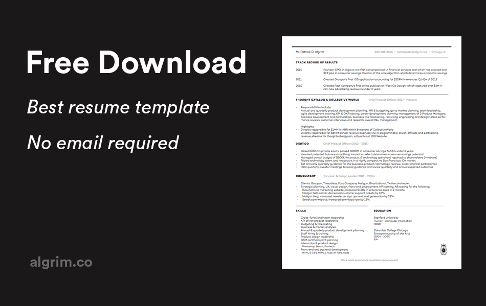 free resume template and download