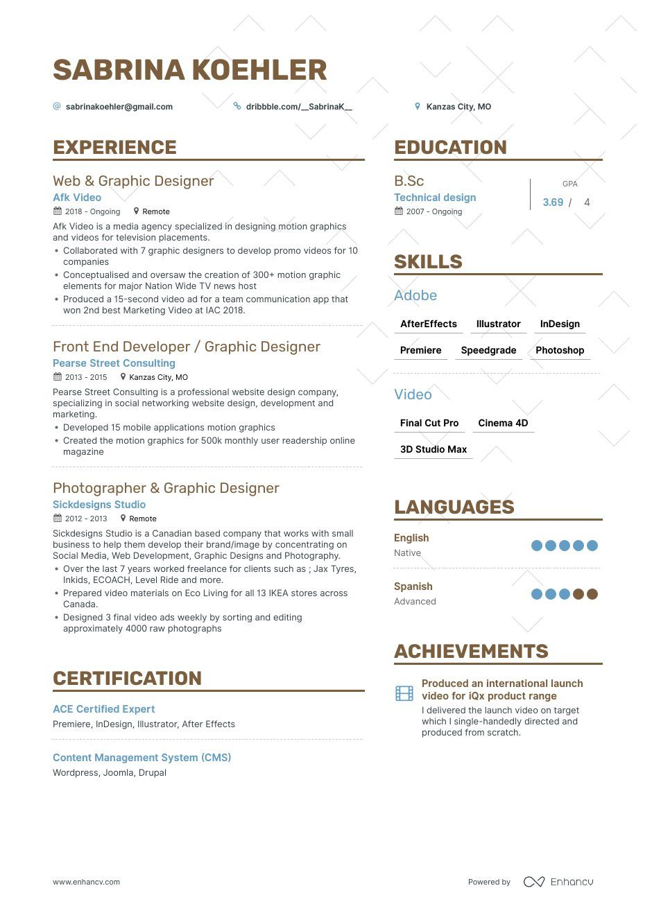 graphic design resume with soft skills
