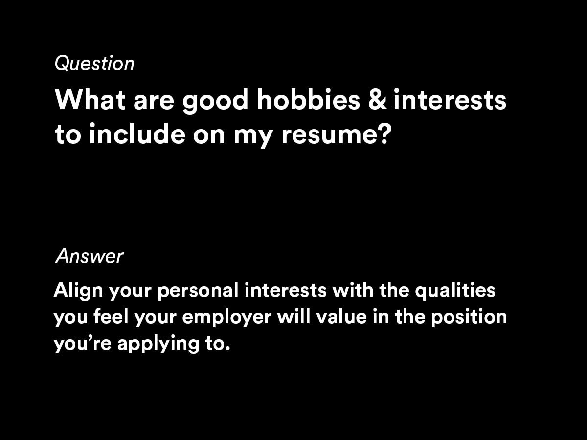 70 Hobbies And Interests For Your Resume 2020 Updated Algrim Co
