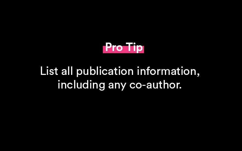 how to list publications on resume