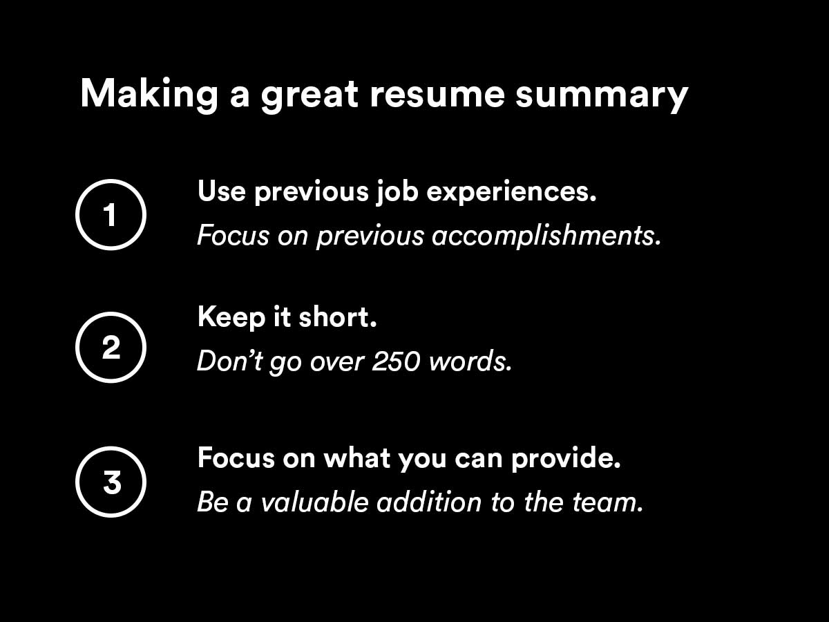 writing a great resume summary