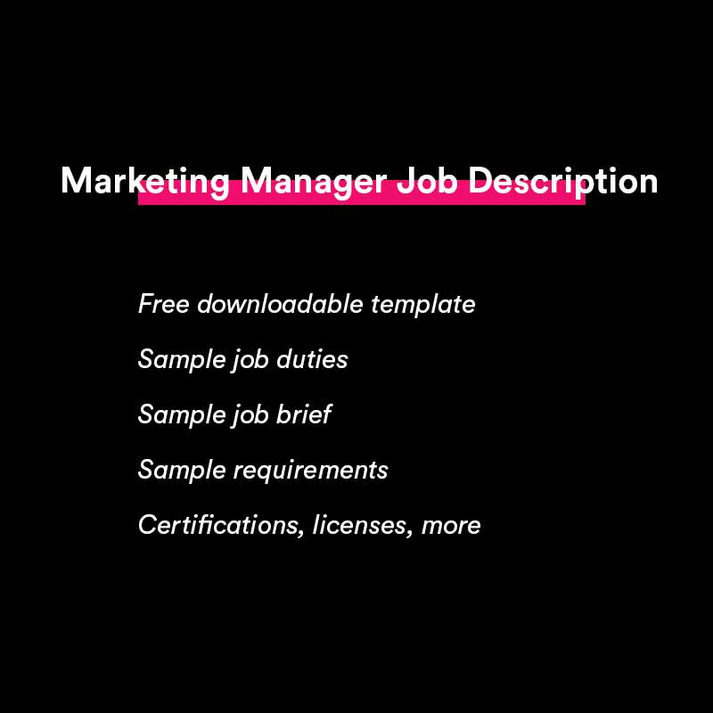 marketing manager job description