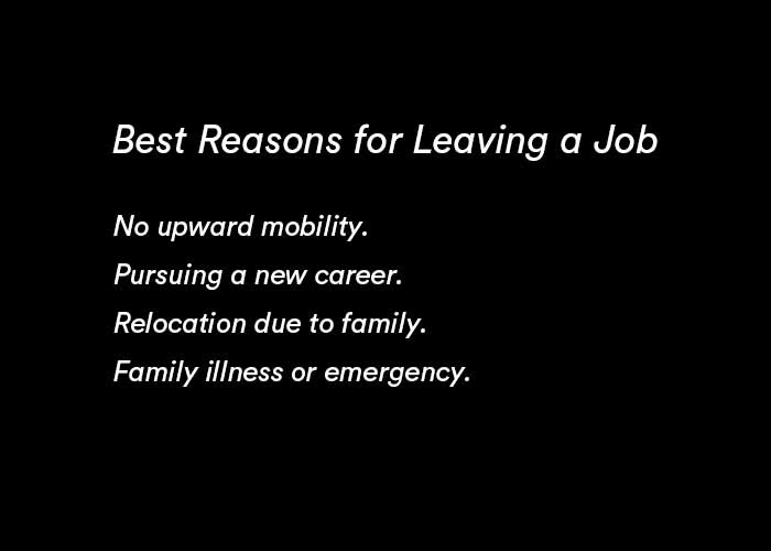 list of the job reasons for leaving a job