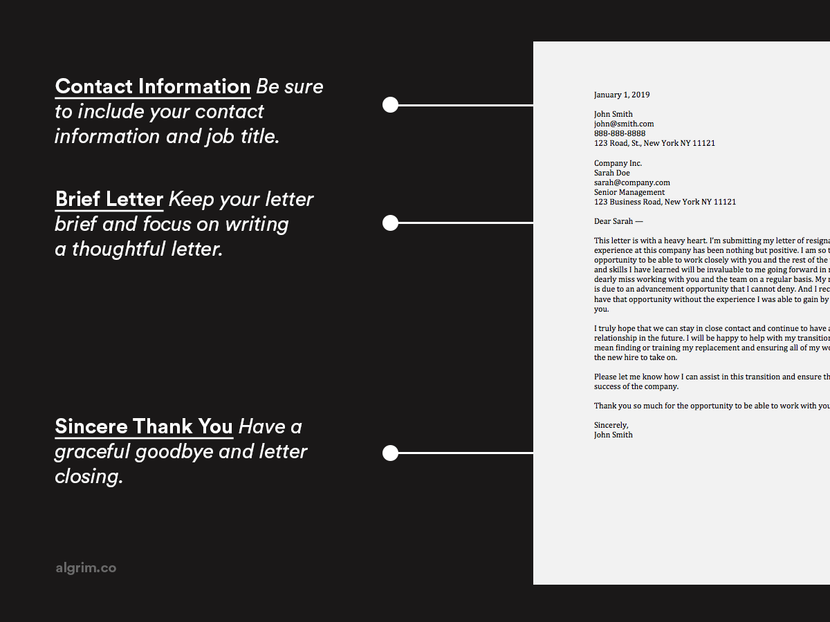 Formal Letter Of Resignation Example from www.algrim.co