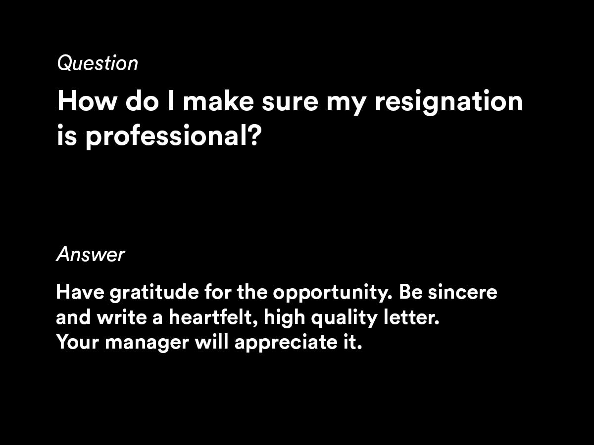 resignation letter questions