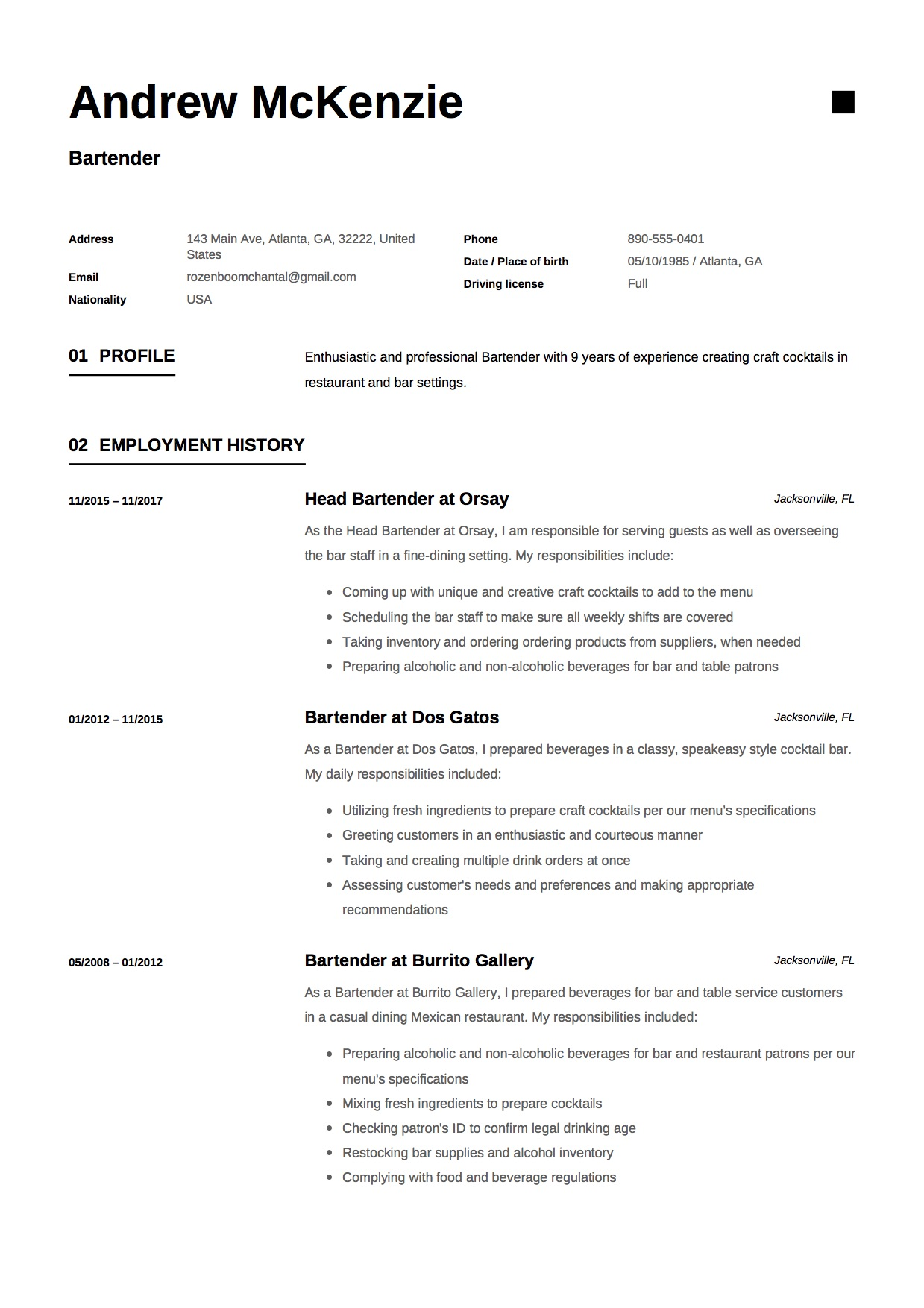 good practices for a bartender resume