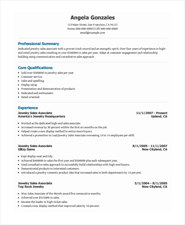 good practices for a sales associate resume