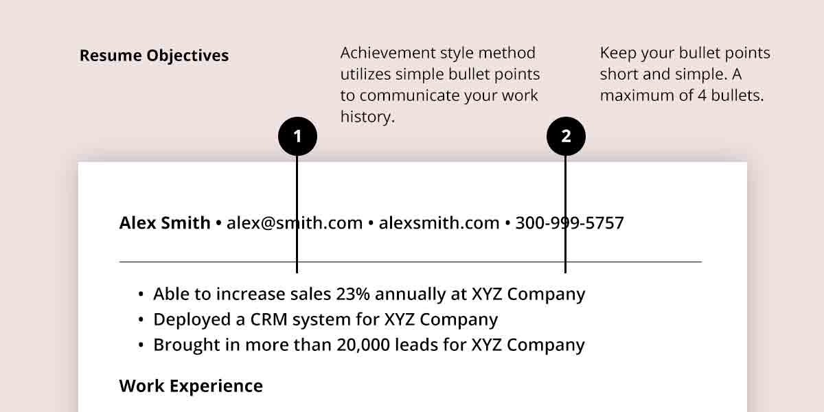 resume objective examples in bullet style method