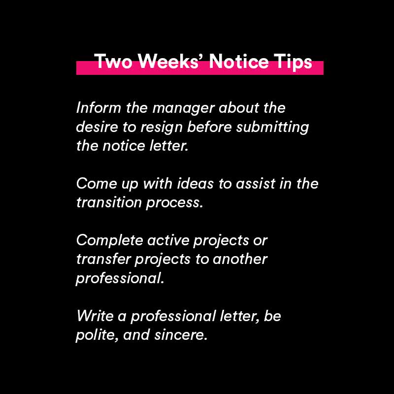 two weeks notice letter tips